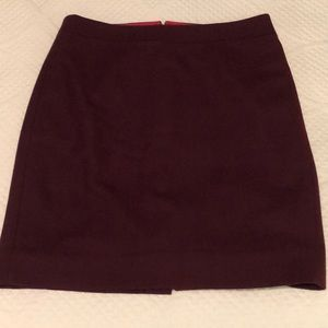 J. Crew Merlot Wool Pencil Skirt
